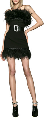 Bronx and Banco Lola Strapless Mini Cocktail Dress with Feathers