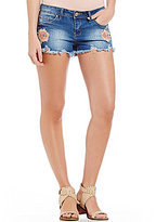 YMI Jeanswear Floral Embroidered Stretch Denim Frayed Hem Shorts