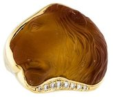 Kara Ross 18K Citrine & Diamond Carved Lion Ring