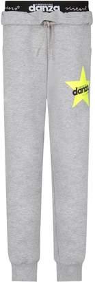 Dimensione Danza Grey Girl Sweatpants With Neon Yellow Star And Logo