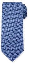 Salvatore Ferragamo Interlocking Gancini Silk Tie, Navy