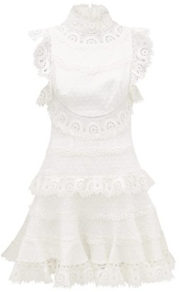 Zimmermann Peggy High-neck Linen-blend Lace Dress - Womens - Ivory