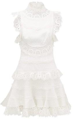 Zimmermann Peggy High-neck Linen-blend Lace Dress - Womens - Ivory