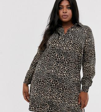 Junarose leopard print shirt dress-Multi