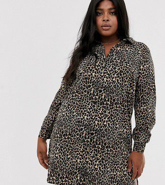 Junarose leopard print shirt dress