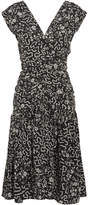 Isabel Marant Glory Ruched Printed Silk-blend Dress - Black
