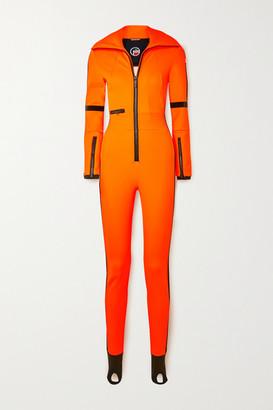 Fusalp Cema Stirrup Velvet-trimmed Ski Suit - Orange