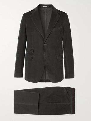 Massimo Alba Black Cotton-Corduroy Suit
