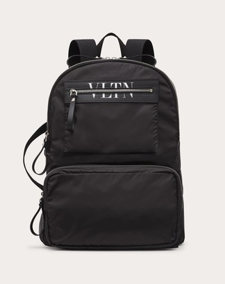 Valentino Garavani Uomo Vltn Nylon Backpack Man Black/white 100% Poliammide OneSize
