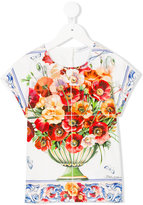 Dolce & Gabbana floral embroidered top - kids - Cotton - 8 yrs