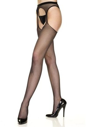 Music Legs Women's Plus Size Fishnet Thigh High Stockings With Garter Belt Black Queen