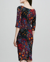 Tracy Reese Ruched Floral-Print Half-Sleeve Dress