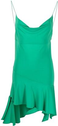 Andamane Cowl-Neck Asymmetric Mini Dress