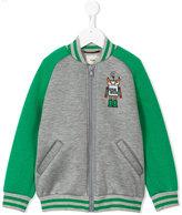 Fendi monster patch varsity jacket - kids - Cotton/Modal - 6 yrs