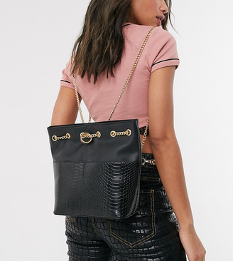 Reclaimed Vintage inspired backpack with chain drawstring