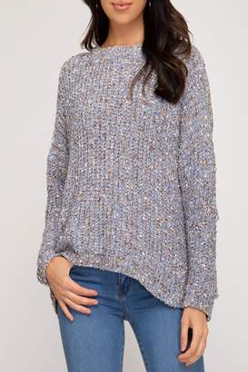 She And Sky Mixed-Yarn Pullover Sweater