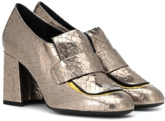 Dries Van Noten Metallic leather pumps