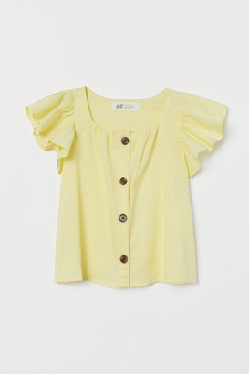 H&M Flutter-sleeved Blouse - Yellow