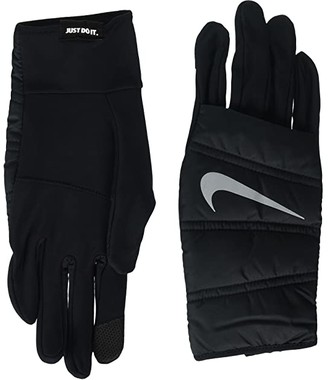 Nike Quilted Run Gloves (Black/Silver) Cycling Gloves