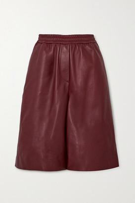 Joseph Leather Shorts - Burgundy