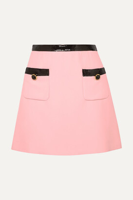 Miu Miu Sequined Velvet-trimmed Cady Mini Skirt - Pink