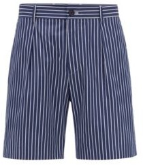 HUGO BOSS Relaxed-fit shorts in striped cotton with cord trim