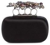 Alexander McQueen Jewel Flower Knuckle Box Clutch - Black