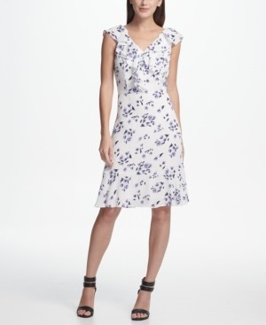 DKNY Ruffle Chiffon Floral A-Line Dress
