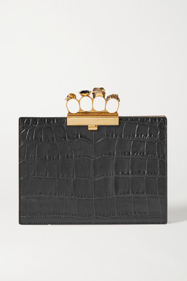 Alexander McQueen Four Ring Embellished Croc-effect Leather Clutch - Black