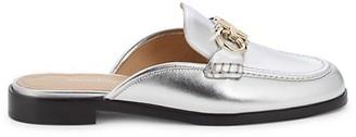 Salvatore Ferragamo Metallic Leather Flat Mules