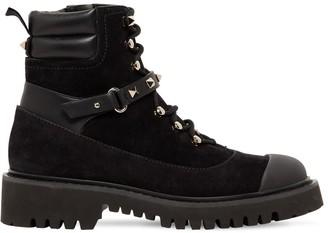 Valentino 20mm Rockstud Suede Combat Boots