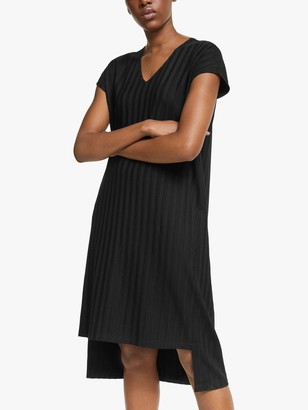 Eileen Fisher Wide Rib V-Neck Shift Dress, Black