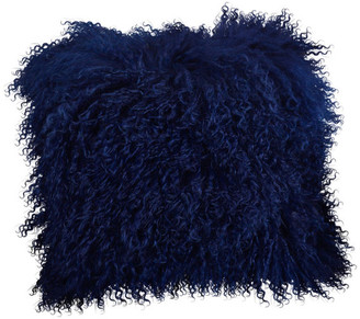 """Saro Lifestyle Mongolian Lamb Fur Poly Filled Throw Pillow, Cobalt Blue, 20""""x20"""""""