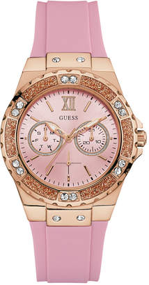 GUESS Women Pink Silicone Strap Watch 40mm