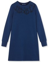 Petit Bateau Womens embroidered cotton fleece dress