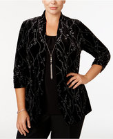 NY Collection Plus Size Glitter Velvet Layered-Look Top