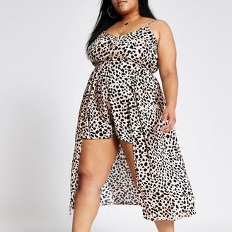 River Island Womens Plus Brown leopard print beach dress