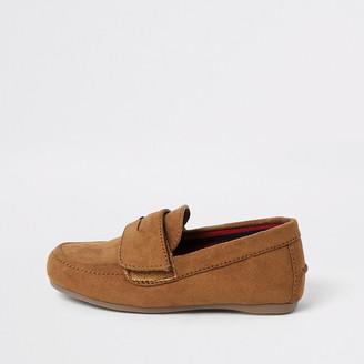 River Island Mini boys brown velcro strap loafers