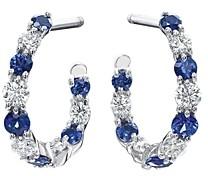 Gumuchian 18K White Gold New Moon Diamond & Sapphire Hoop Earrings