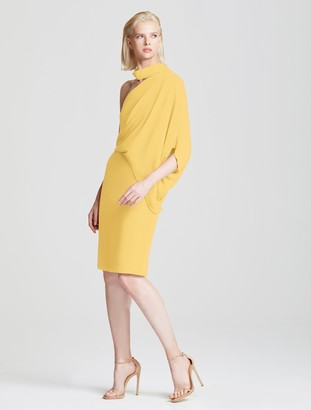 Halston Wrap Neck Asymmetric Draped Dress
