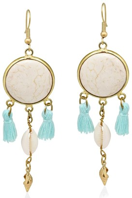 Aeravida Handmade Beach Chic Stone Cowrie Shell Tassels Brass Dangle Earrings