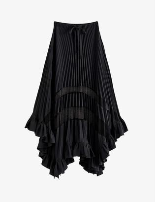 Claudie Pierlot Selode lace and chiffon pleated midi skirt