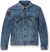 Saint Laurent Appliquéd Distressed Denim Jacket