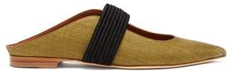 Malone Souliers Mara Canvas Backless Loafers - Womens - Black Khaki