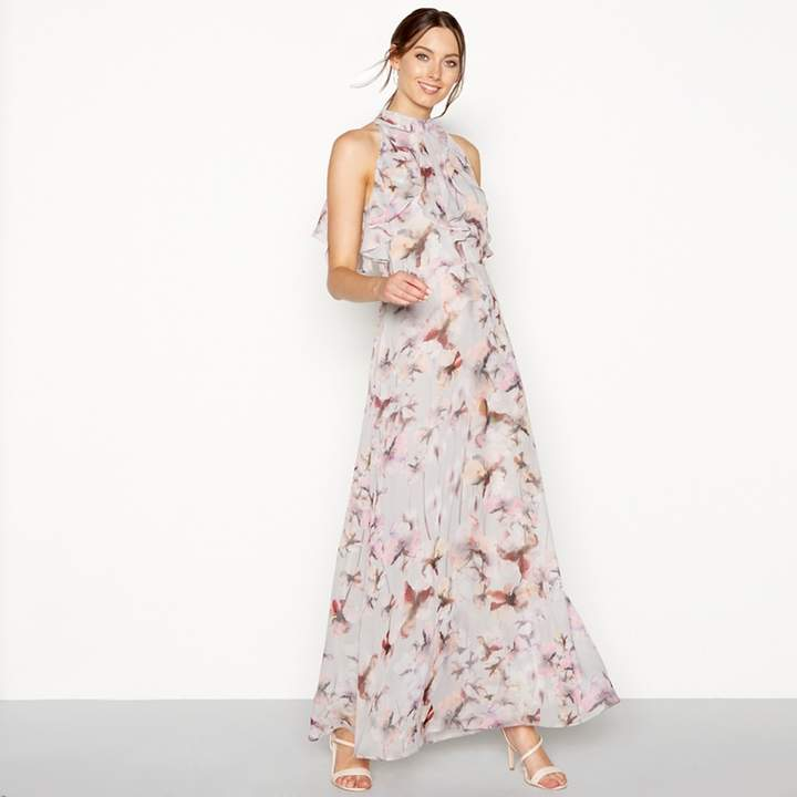 Debut - Grey Floral Print High Neck Sleeveless Maxi Dress
