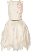 Reem Acra - Layered Floral-appliquéd Organza Mini Dress - Cream