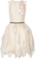 Reem Acra - Layered Floral-appliquéd Organza Mini Dress - Cream