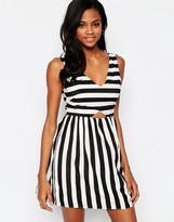Goldie Mean Gal Striped Dress With Cut Out Detail