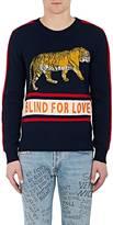 Gucci Men's Appliquéd Striped Wool Sweater