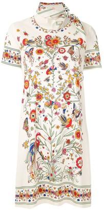 Tory Burch Scarf-Embellished Floral-Print Shift Dress
